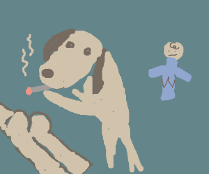 Snoopy the dog smoking on A butt