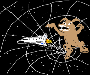 Space shuttle escapes from blackhole w/ monstr