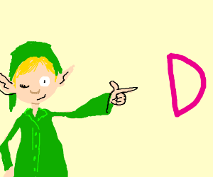 winking elf pointing at a D