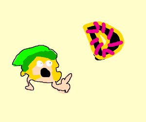 """An elf (link?) pointing at the letter: """"D"""""""