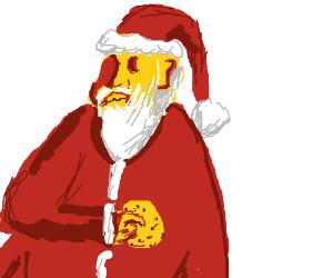 santa eating cookies and milk