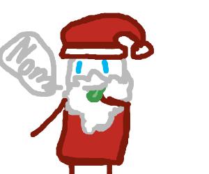 Santa eating cookie