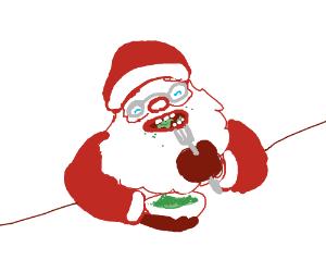 Santa eats a green thing