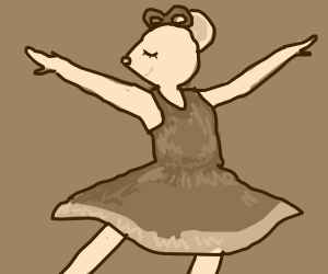 a cute mouse girl dancing to music