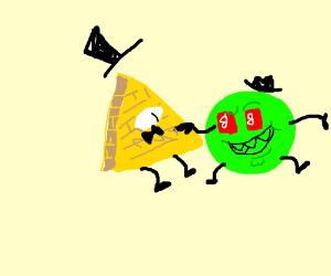 Bill Cipher meets a green demon circle  - Drawception