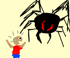 bald man is scared of a spider on the wall