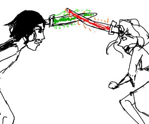 forehead lightsaber battle