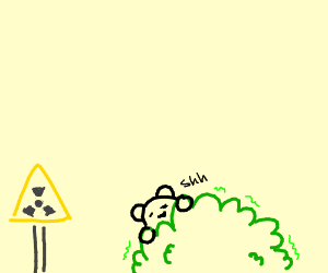 someone hiding behind a radioactive bush drawing by animatedandy