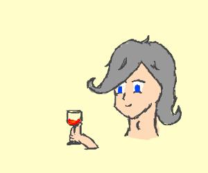 Grey Hair Anime Boy Drinking Wine Drawing By Ikano Drawception