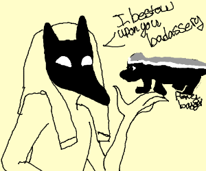 Anubis blessing the honeybadger with badassery