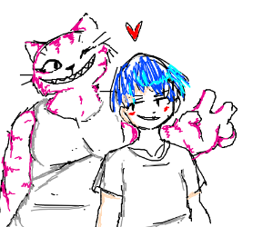 The Cheshire cat is buff, and has a blue hair bf