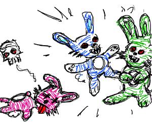 Two bunnies happy b/c annoying bunny is dead.