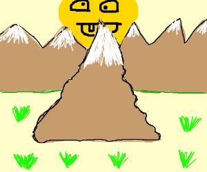 a derpy sun sitting on mount Everest