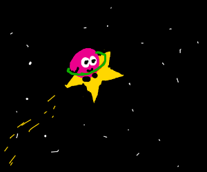 Kirby hula hooping in space on a warp star