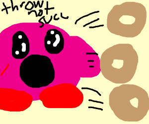 Kirby throwing donuts.