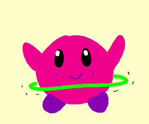 Kirby playing ring the hoop