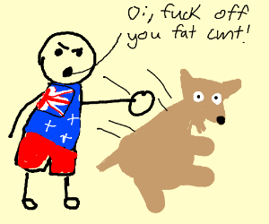 Australian punches a fat dog