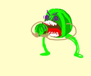 Watermelon monster eats a watermelon