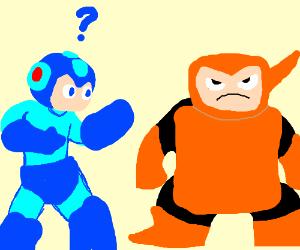 Mega man questions Wood Man's armor