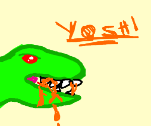 yoshi eats people and blood all over mouth
