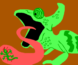A chameleon eating a small lizard