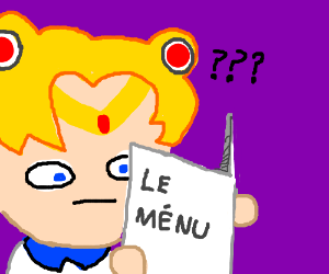 Sailor Moon confused about french menu