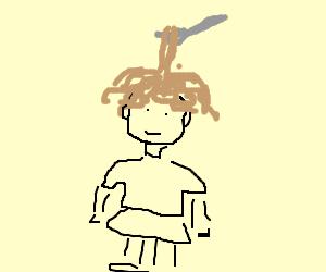 Woman with spaghetti hair