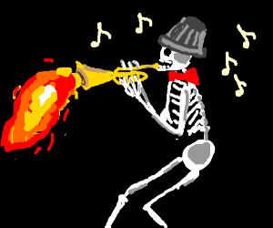 Skeleton plays flamethrower trumpet