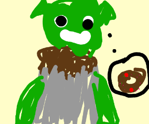 Shrek thinks about chocodonuts w sprinkles