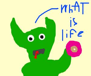 dragon eats donut and contemplates life