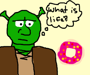 ogre contemplates life while looking at donut
