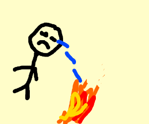 Someone crying into a fire to stop it