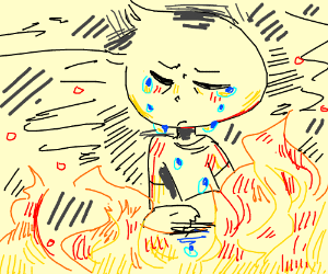 man crying on fire