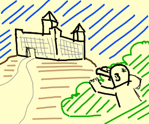 man stakes out a castle