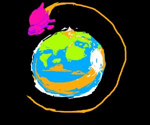 Spaceship flies around earth