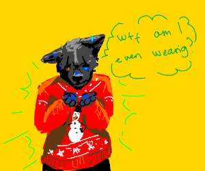 Furry thinks Christmas sweaters look awful