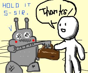 Robot handing stick man a wallet