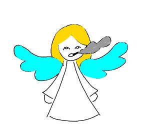 Angel smokes cigarettes
