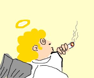 angel smoking a doobie