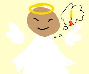 angel thinks of upsidedown candle