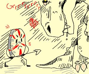 Peppermint creature attacks donosaur