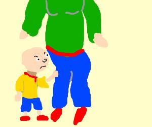 Small bald boy bullies sad bald boss in a suit