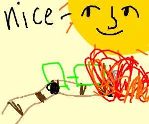lenny face sun watches as a train crashes
