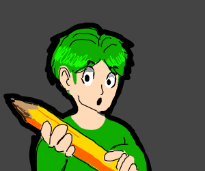 Green Haired person holding oversized pencil
