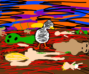 A shady duck in wasteland of rotting corpses.