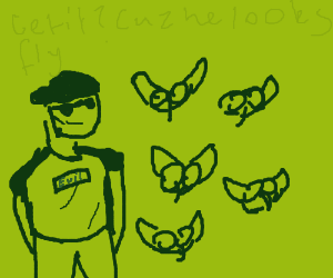 The evil Fly Man with is swerm of flies!