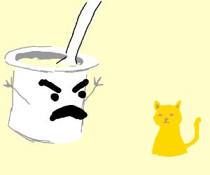 Yogurt on roids yelling at a yellow cat