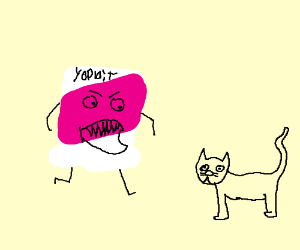 yogurt monster is mad at cat