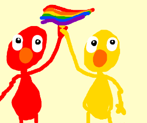 Elmo and yelmo show gay pride