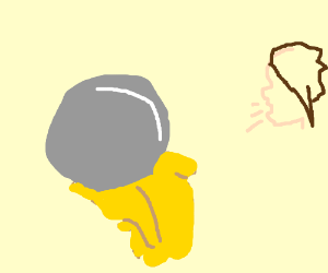 A man laughs at an iron orb oozing honey.